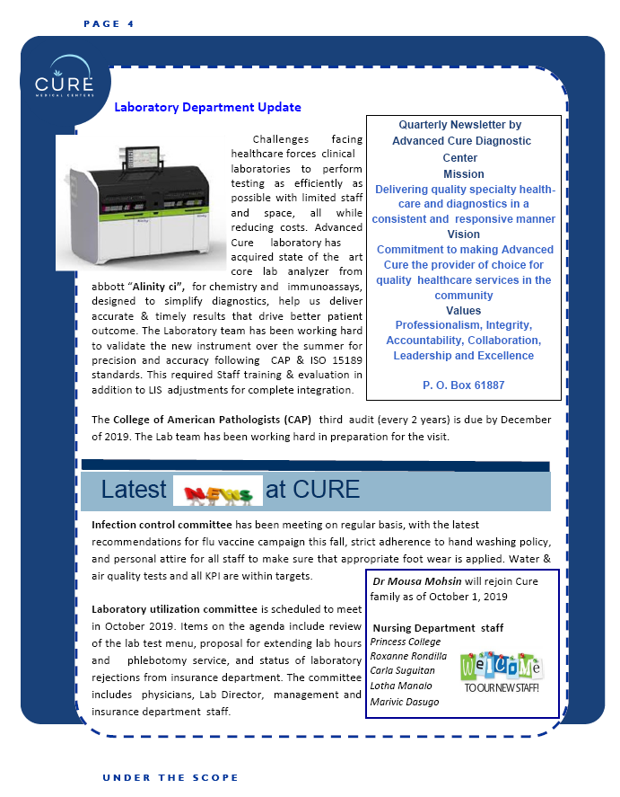 Cure Lab Newsletter for October Page4